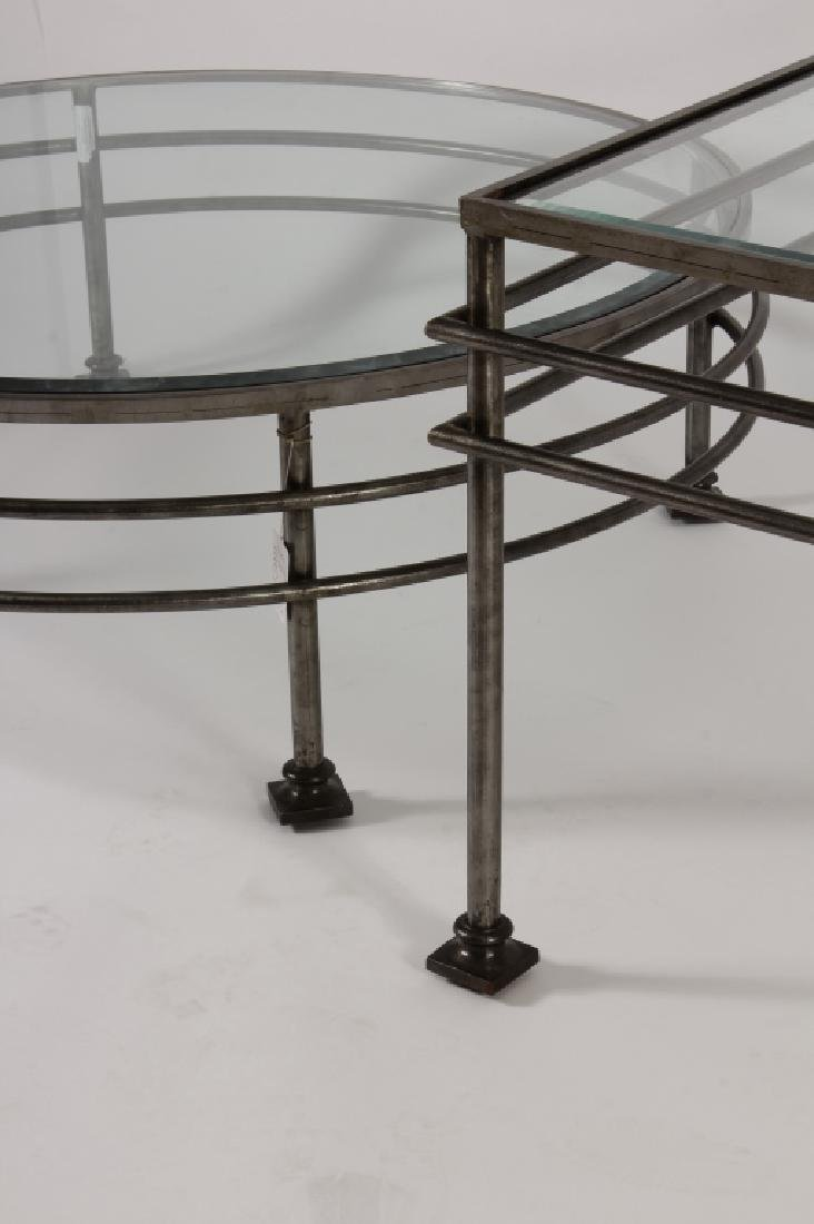Two Glass and Steel Tables One Square & One Round - 4
