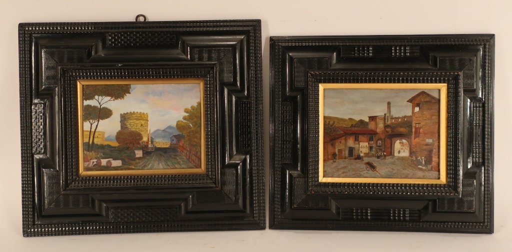 Pair of Dutch Style Ripple Frames w O/B paintings