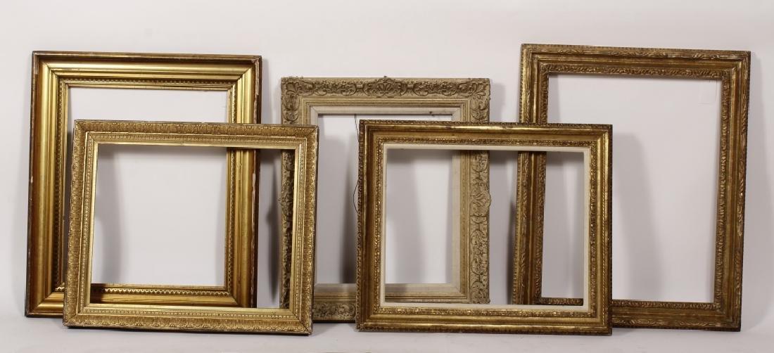 5 Carved Gilt Wood Frames, E.-Mid 20th C.