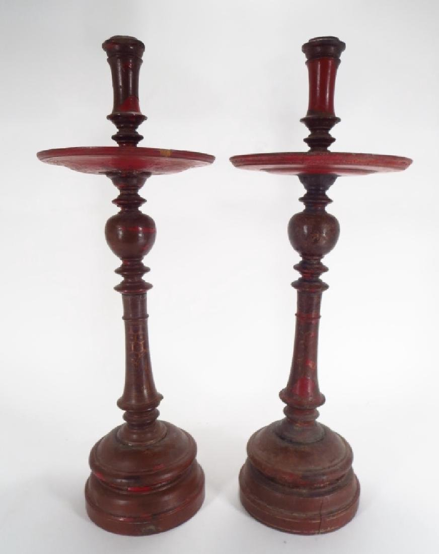 Pair of Large Turned Wood Candlestick, 19th C.