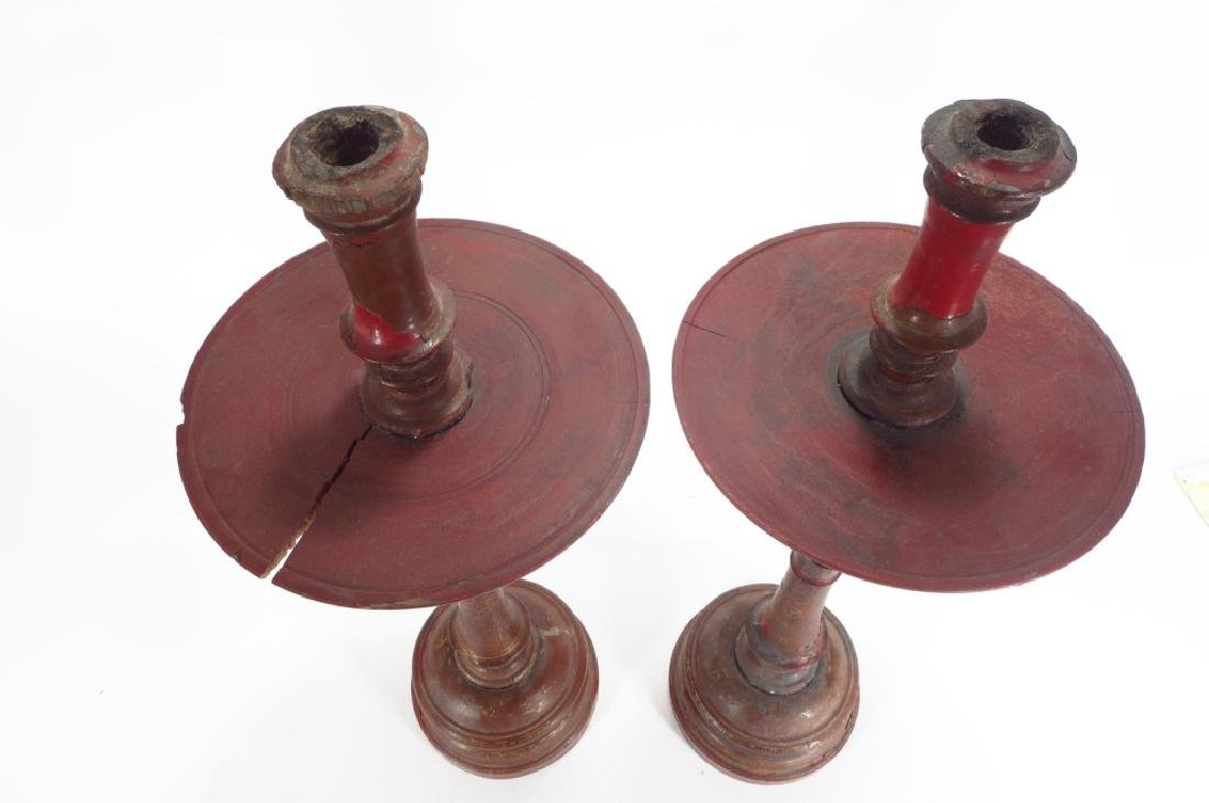 Pair of Large Turned Wood Candlestick, 19th C. - 2