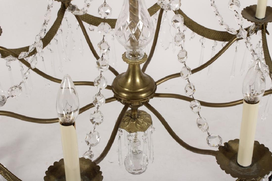 English Style Crystal/Brass 8 Light Chandelier - 5