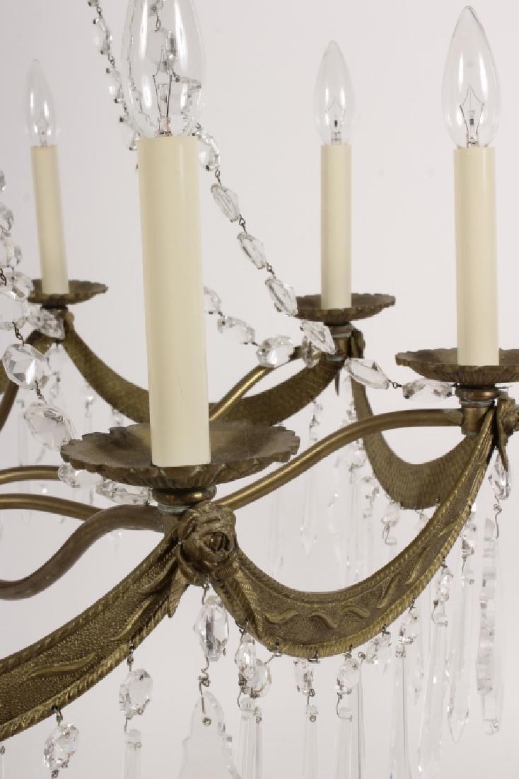 English Style Crystal/Brass 8 Light Chandelier - 7