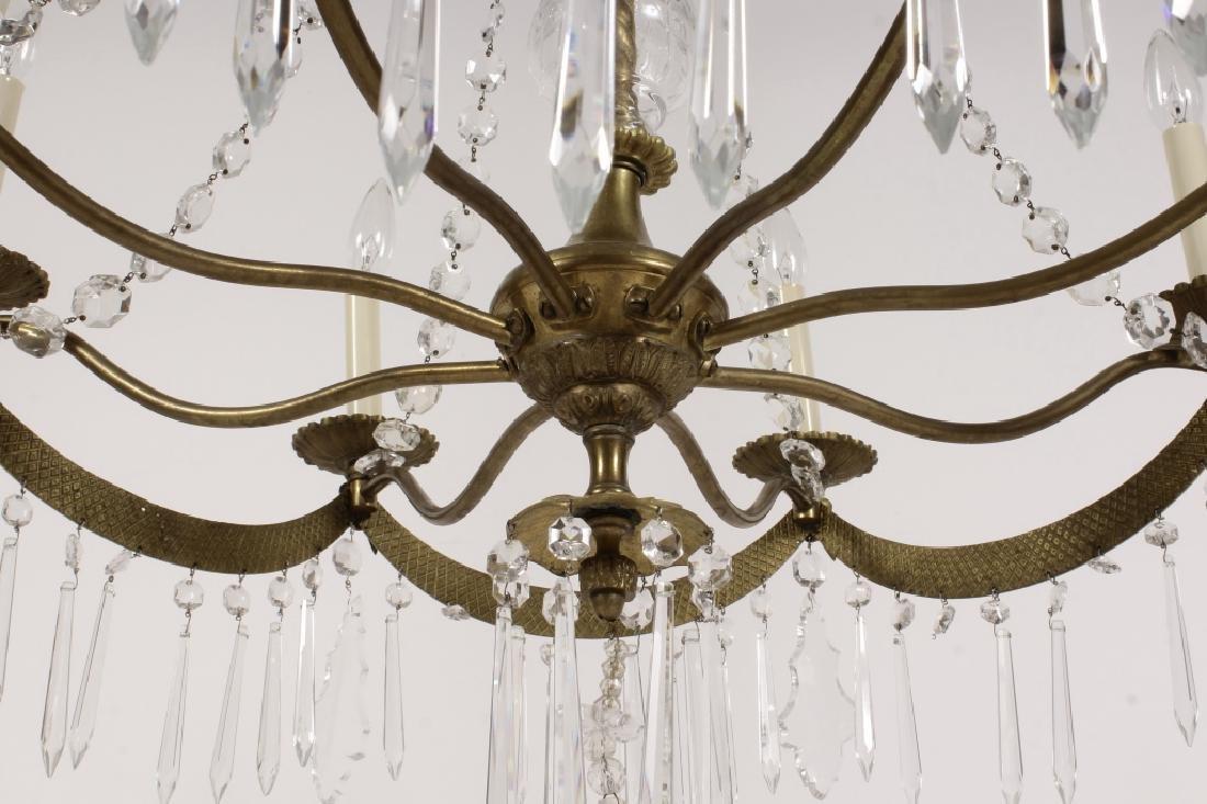 English Style Crystal/Brass 8 Light Chandelier - 8