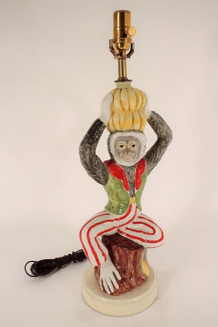 Italian Ceramic Monkey Table Lamp 20th C.