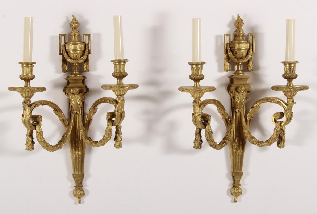Pr. of Neoclassical Style Gilt Bronze Sconces