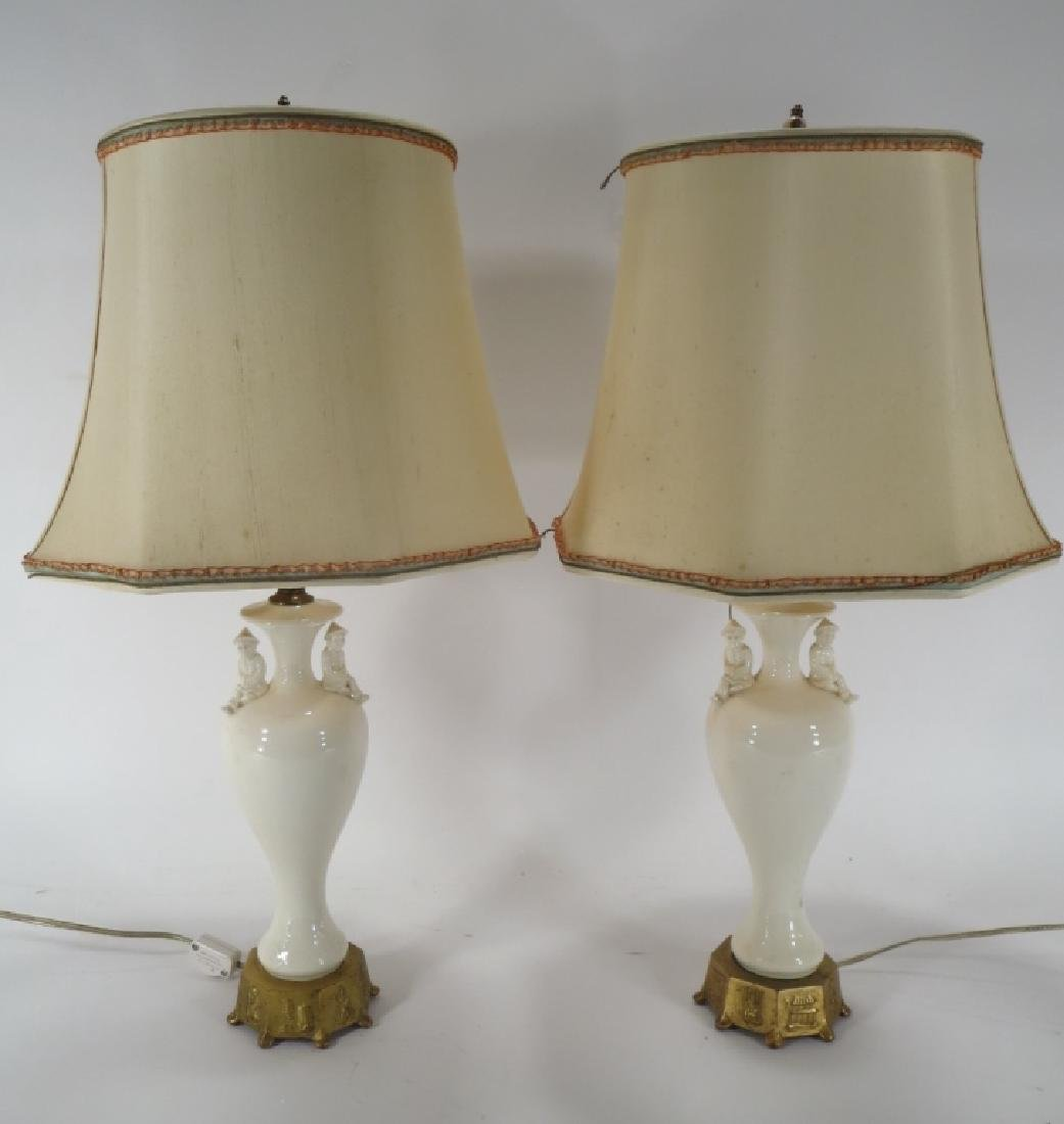 Pr. Chinese Style Lamps, 1940's Blanc de Chine