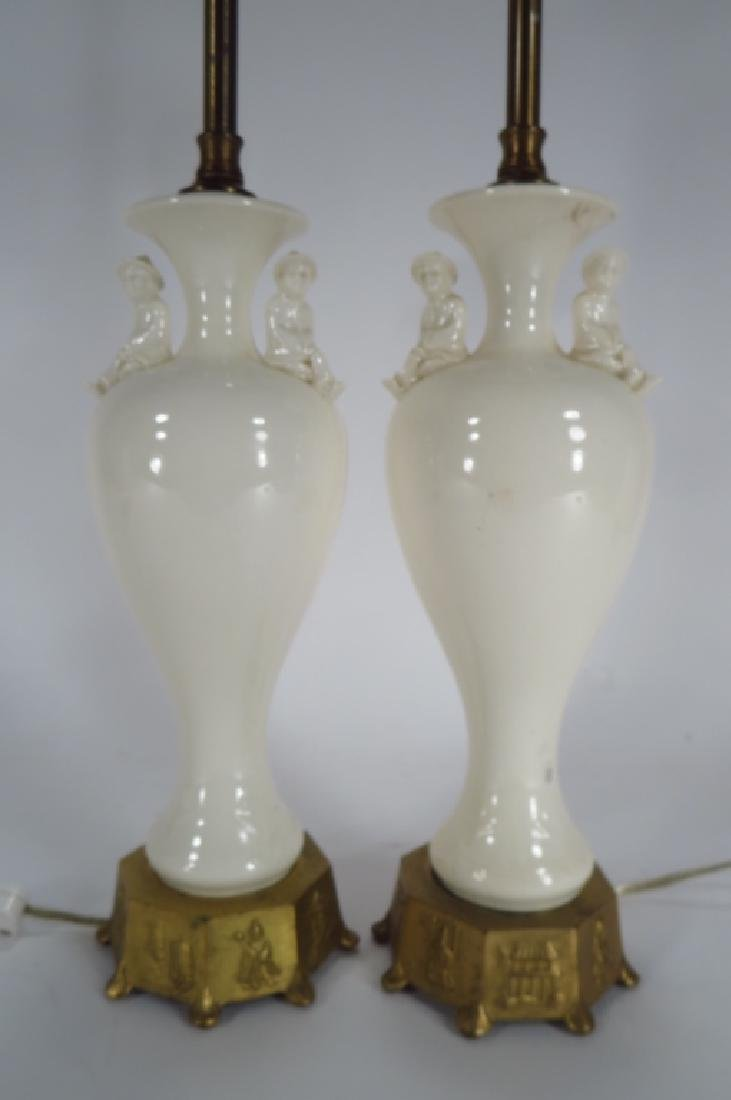 Pr. Chinese Style Lamps, 1940's Blanc de Chine - 2