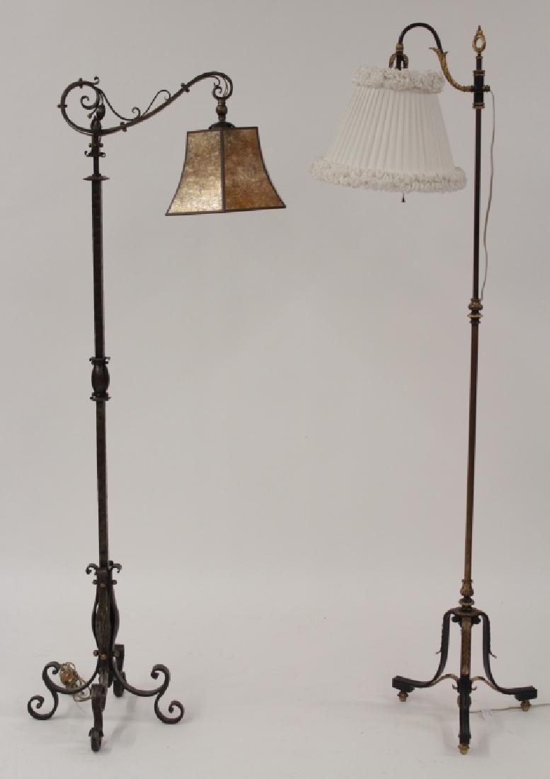2 Metal Standing Reading Lamps,20th C.