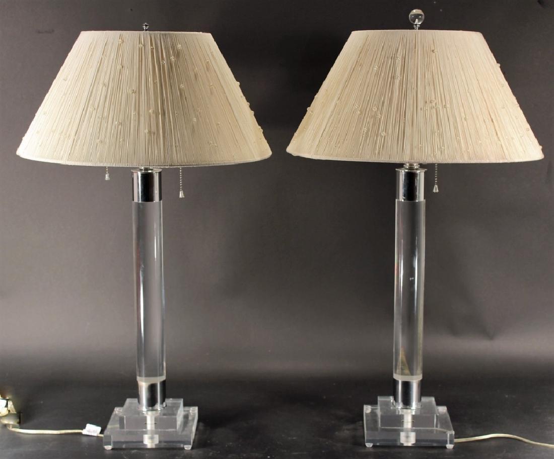 Pair of Lucite & Chrome Column Lamps, c. 1970's