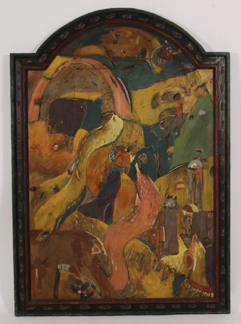 T. Simpson, Painted Wood Bas-Relief, Label Verso