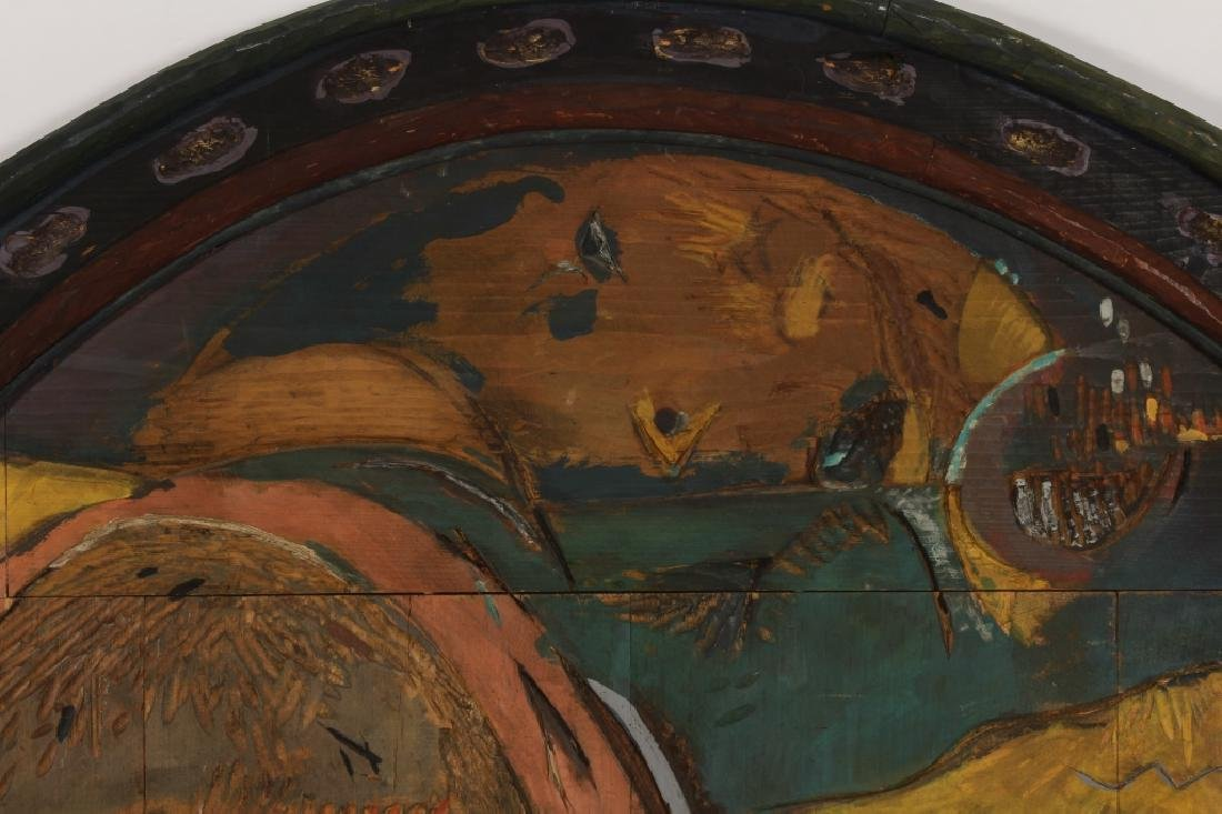 T. Simpson, Painted Wood Bas-Relief, Label Verso - 2