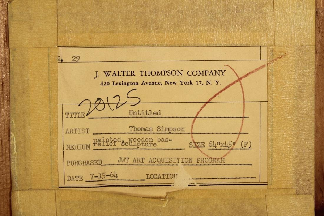 T. Simpson, Painted Wood Bas-Relief, Label Verso - 7
