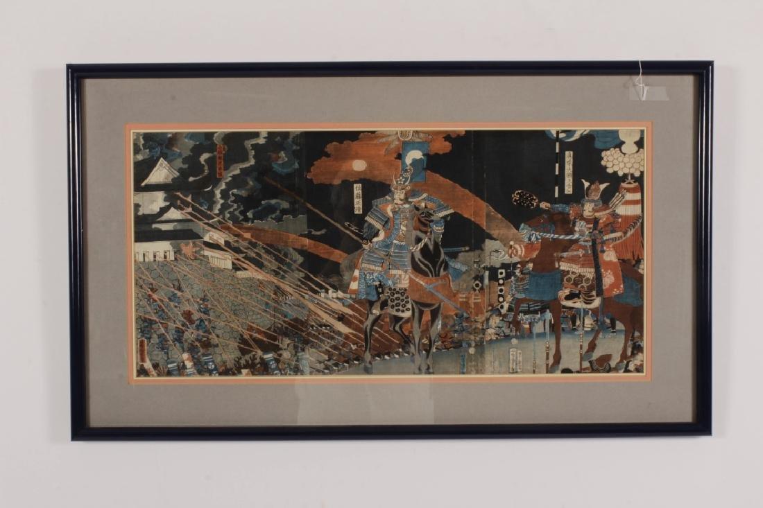 Utagawa Yoshitora Japanese Woodblock Triptych 19th - 2