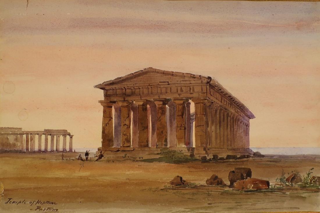 """Mnr of Turner, 19th c. """"Temple of Neptune""""  W/C"""