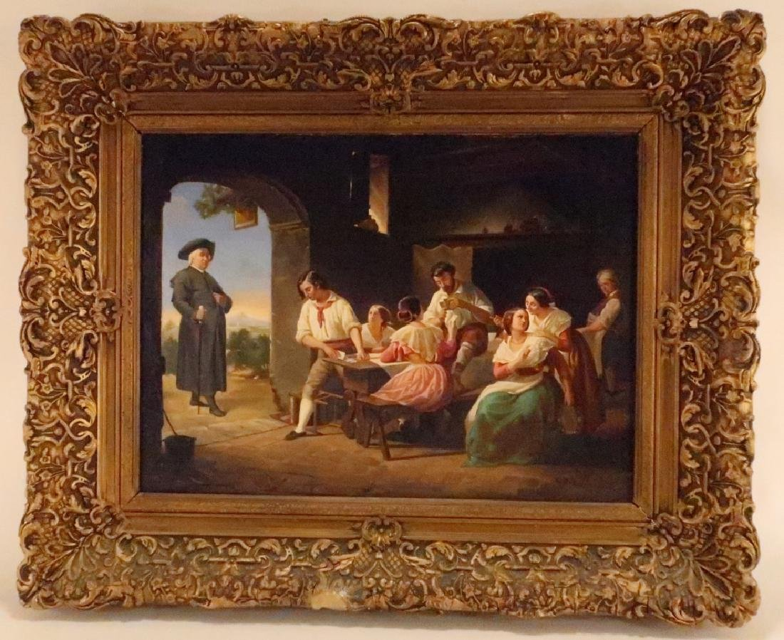 German School, 19th C., Italian Tavern Scene, O/C