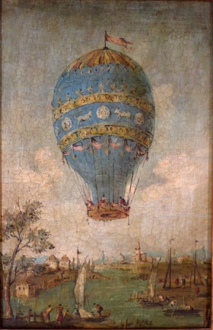 Italian, e. 20th c.., Balloon over Lagoon, O/C