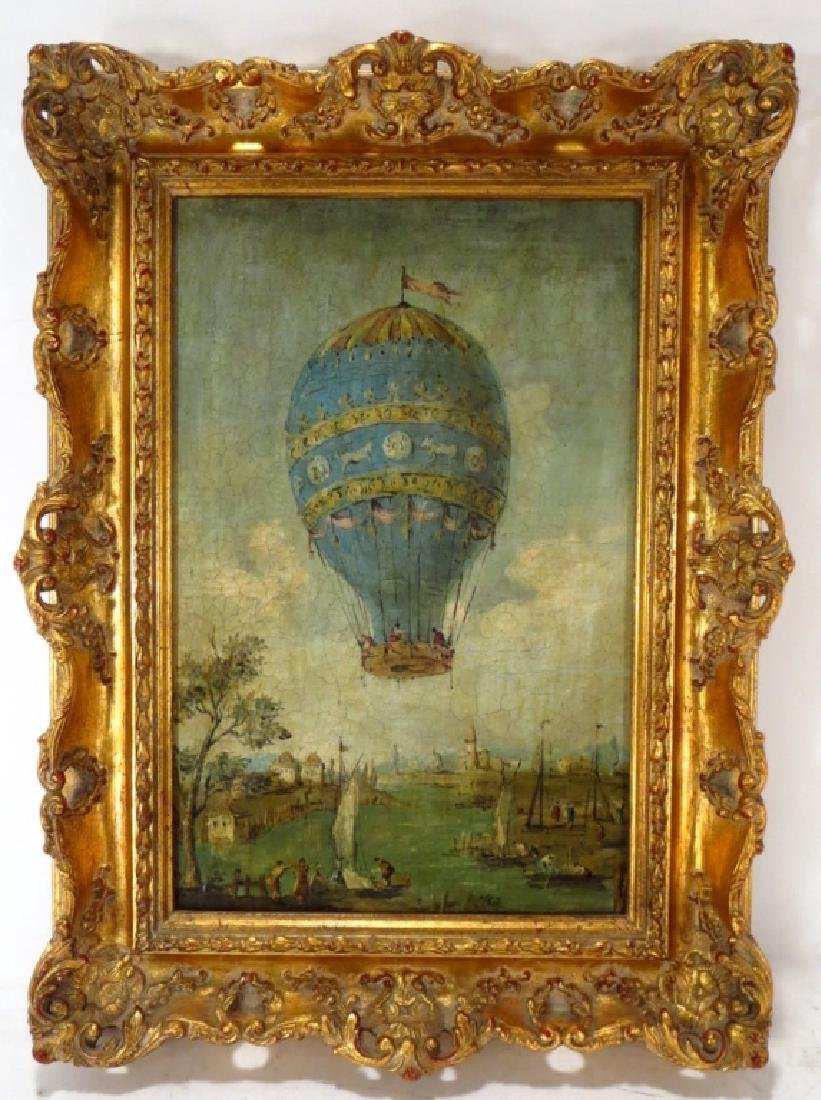 Italian, e. 20th c.., Balloon over Lagoon, O/C - 2