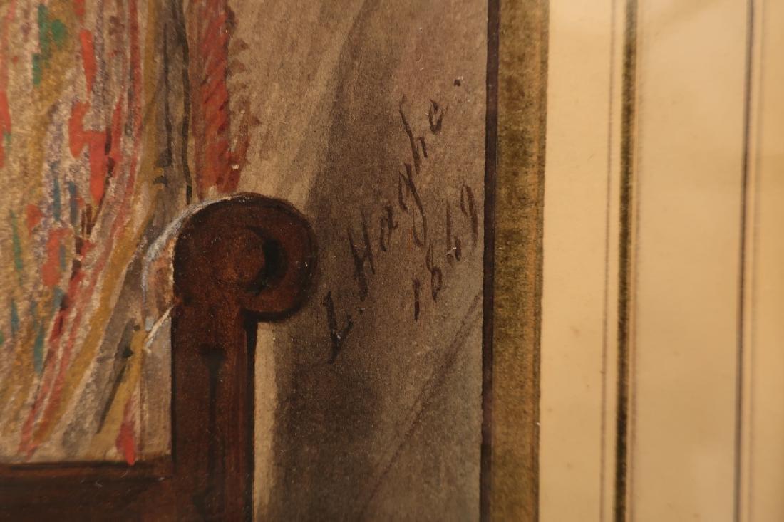 Louis Haghe 1806-1885 Interior Scene W/C 1869 - 7