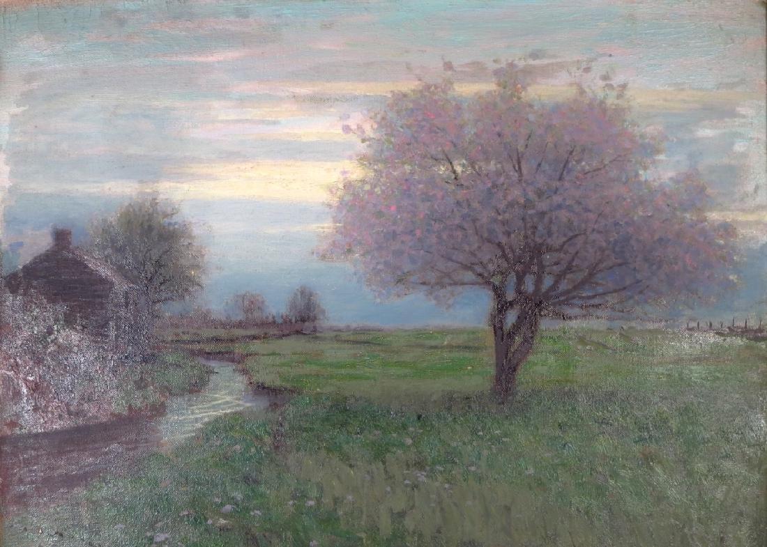 Birge Harrison, Am.,Flowering Tree at Dusk, o/c