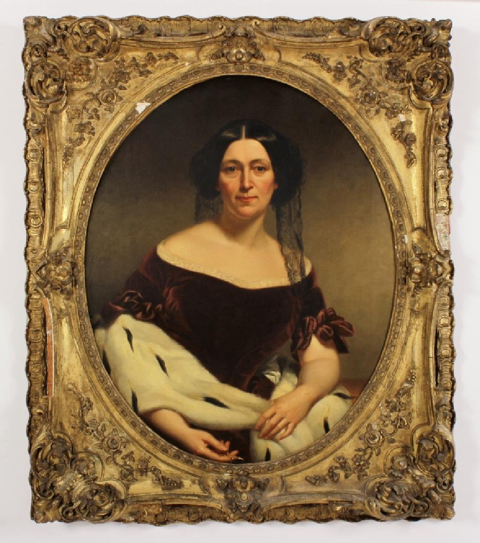 19th C.Portrait of a Lady in Velvet Dress