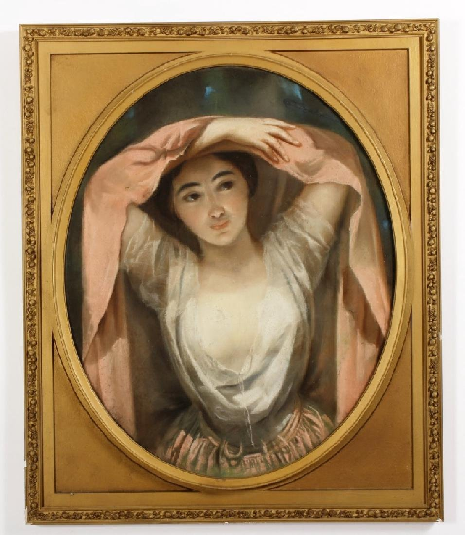 Woman w/ Raised Arms French Pastel Early 19th C.