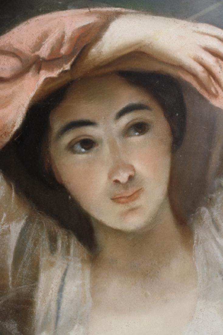 Woman w/ Raised Arms French Pastel Early 19th C. - 2
