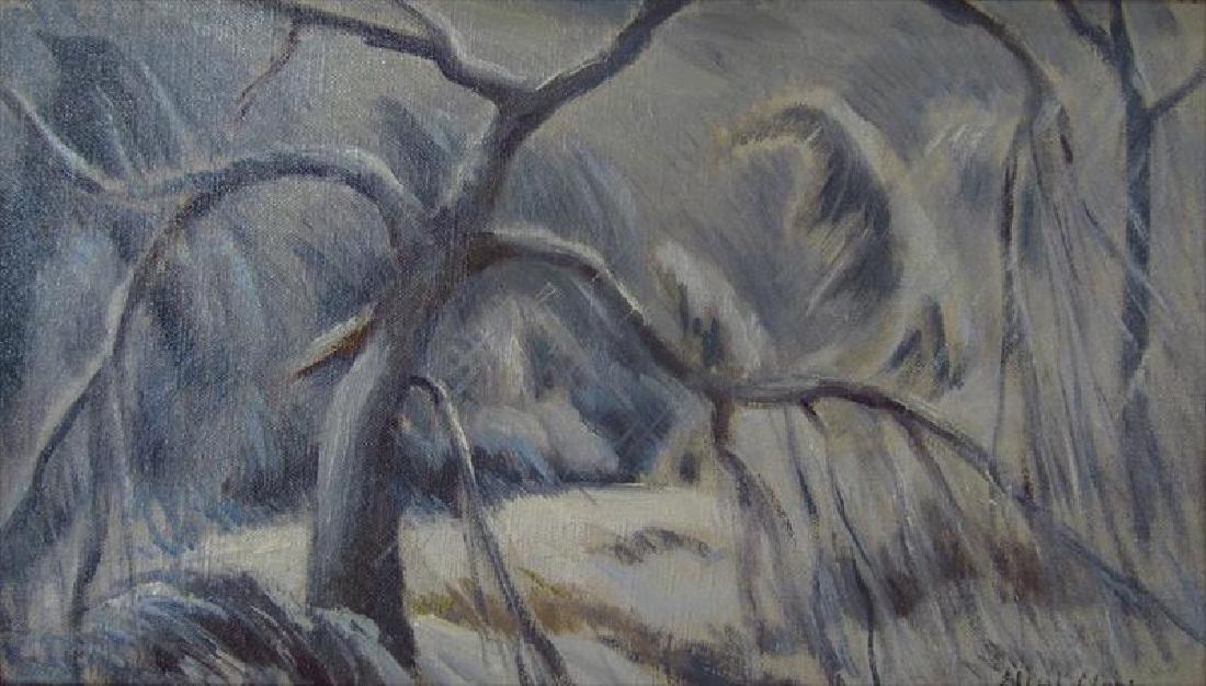 """Eliot Clark 1883-1980 Landscape & """"Blizzard"""", o/c - 7"""