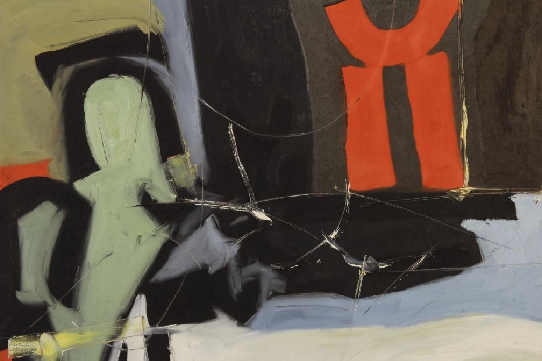 Arnold Weber, Am., 1921-2010, Dark Abstract O/C