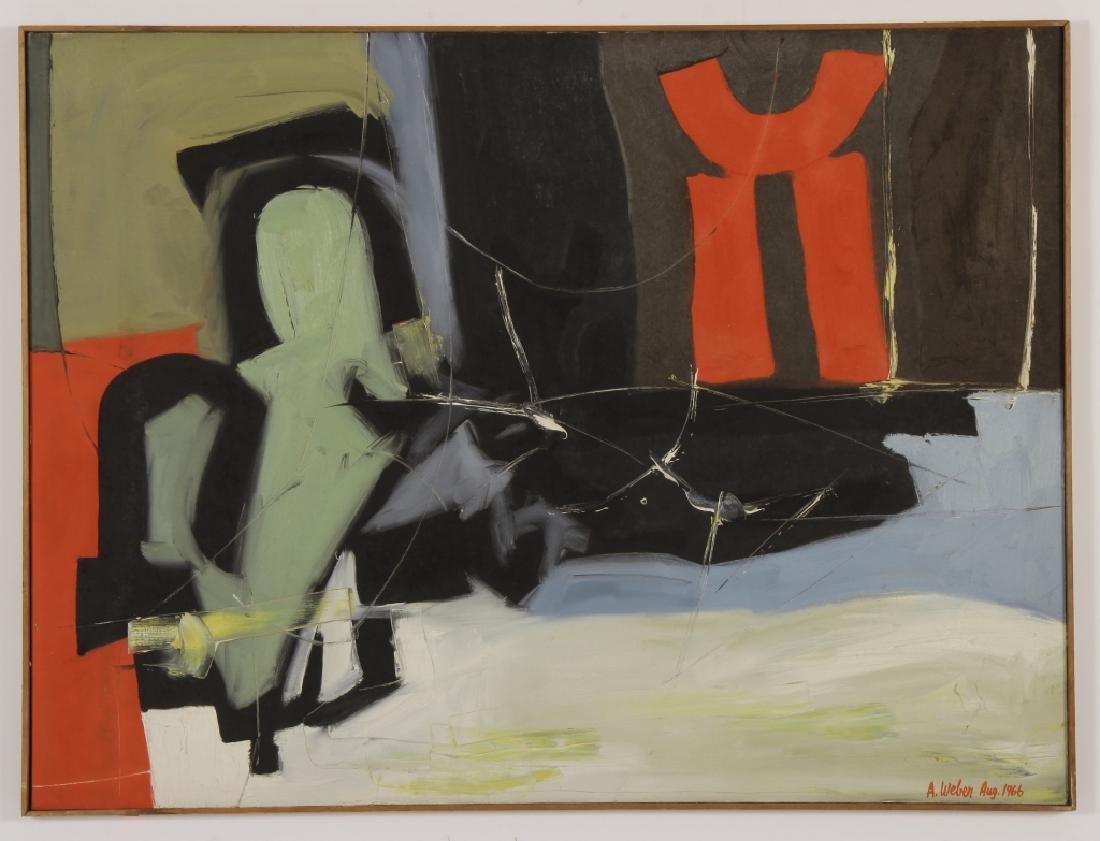 Arnold Weber, Am., 1921-2010, Dark Abstract O/C - 2