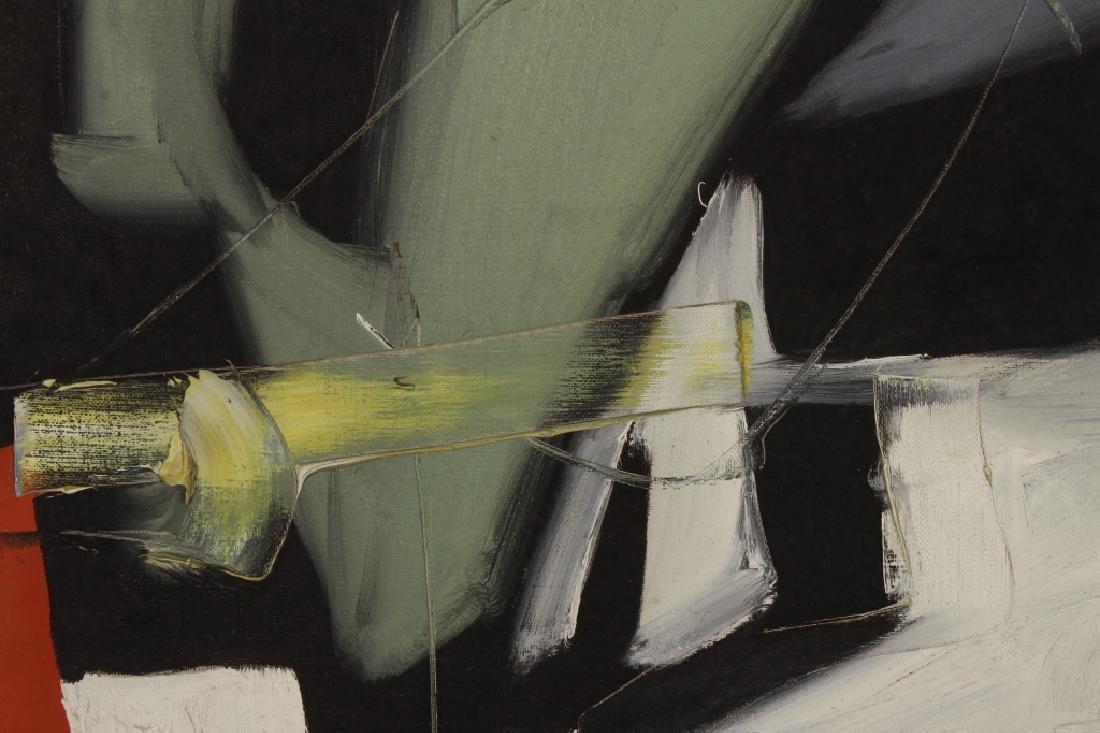 Arnold Weber, Am., 1921-2010, Dark Abstract O/C - 4
