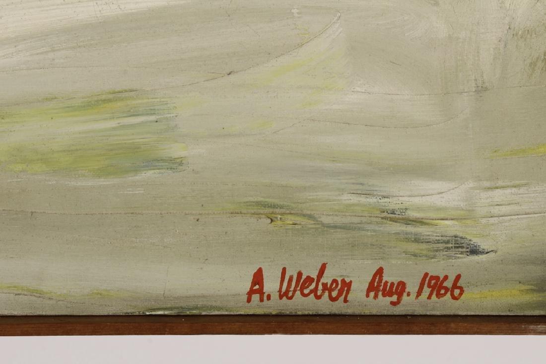 Arnold Weber, Am., 1921-2010, Dark Abstract O/C - 5