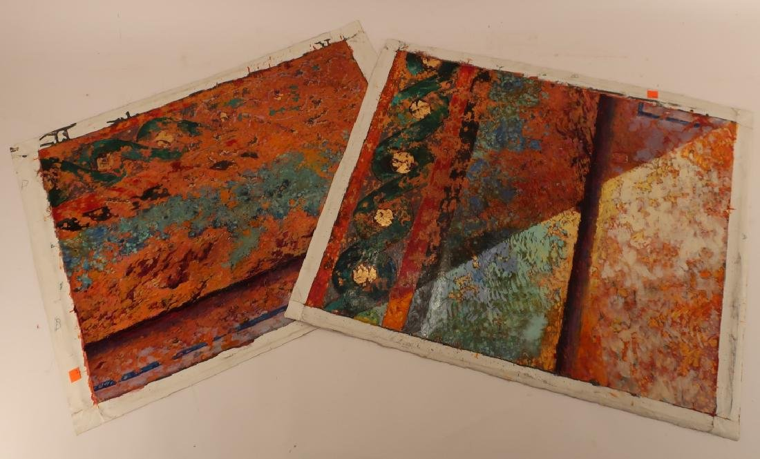 Lot of 2 Denis Riviere Fr b.1945 Abstract O/C 1988 - 3