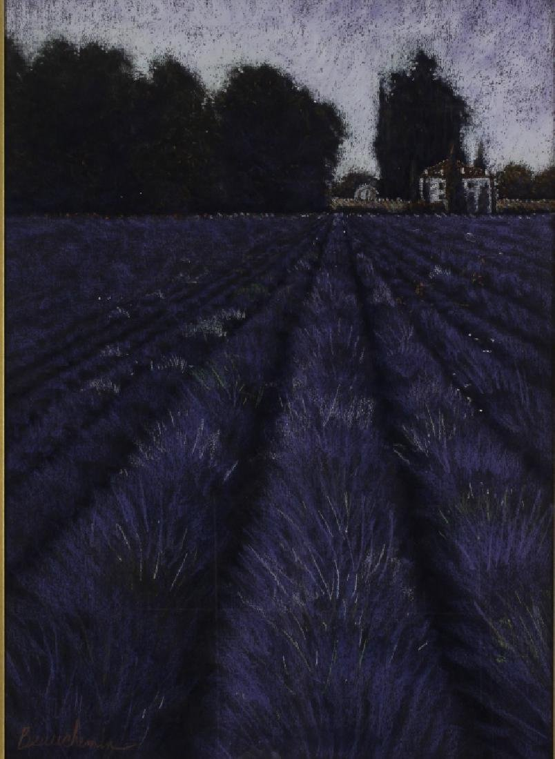 Beauchemin Lavender Field Pastel 20th C.