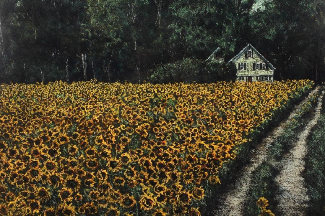 Beauchemin Sunflower Field Pastel 20th C