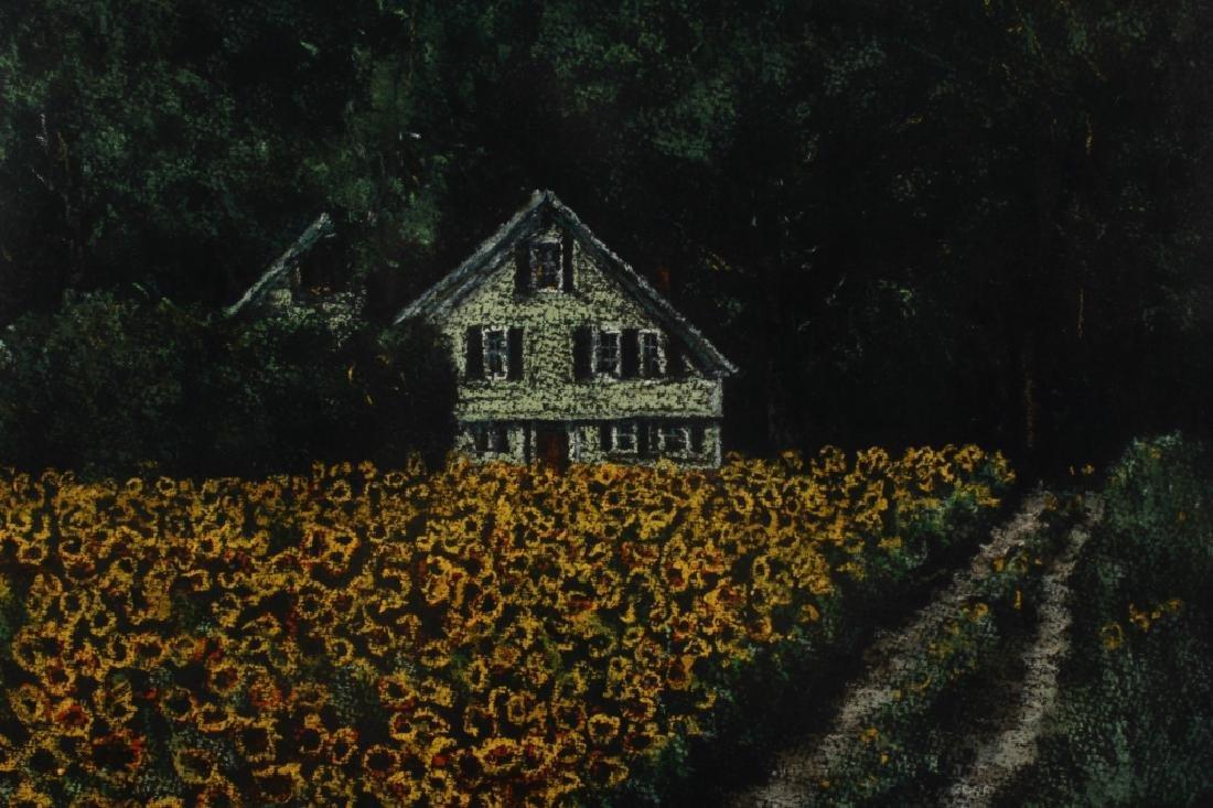 Beauchemin Sunflower Field Pastel 20th C - 3