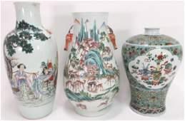 3 Chinese Porcelain Famille Rose Vases