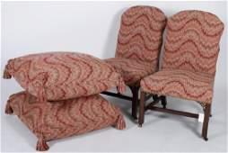 Pr George III Mahogany Chairs  Floor Cushions