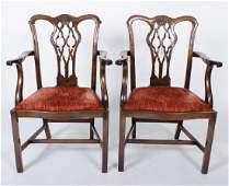 Pr George III Style Mahogany Armchairs, Red Seats