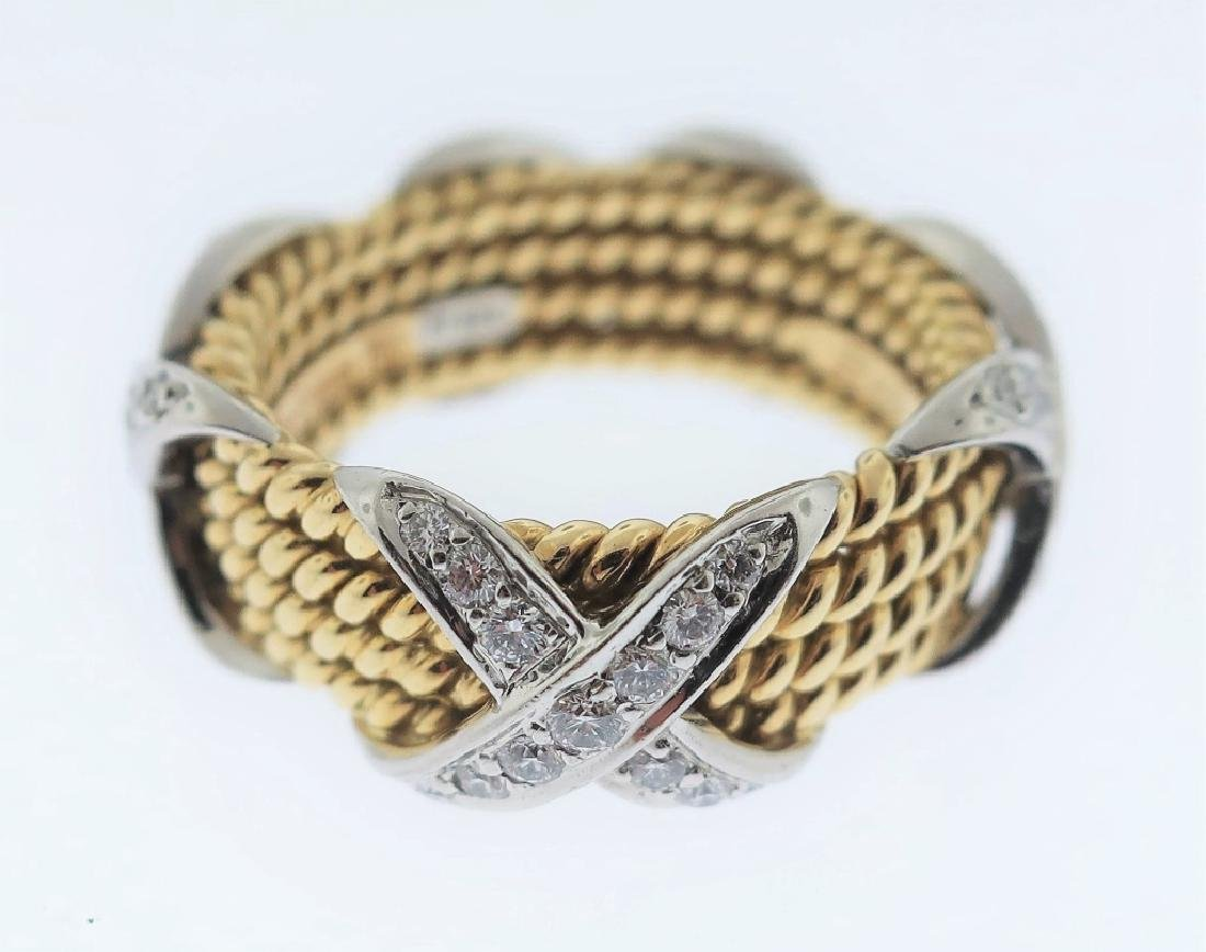 18K Gold & Platinum Tiffany & Co Schlumberger Ring