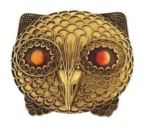 18K Gold Castellani Owl Brooch Agate Eyes 19th C.