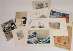 9 Japanese Works, 19th-20th C., prints, W/C