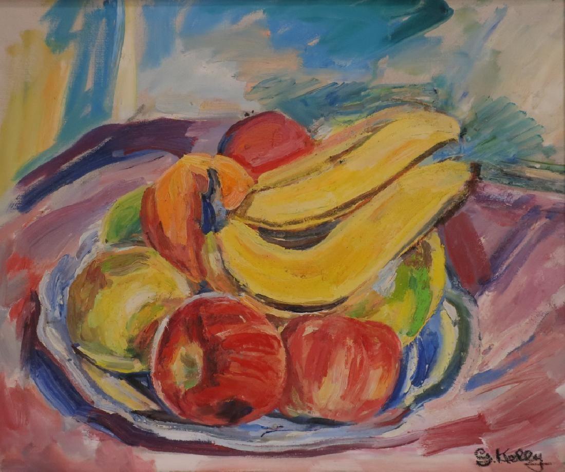 George Kelly, Style Cezanne, Fruit Still Life, O/C