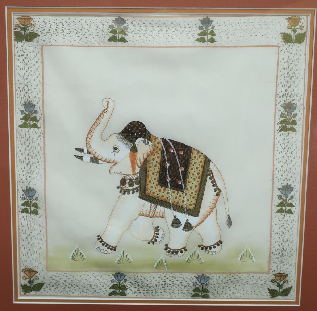 Pr. of Elephant Paintings on Silk w/Zebra giclee