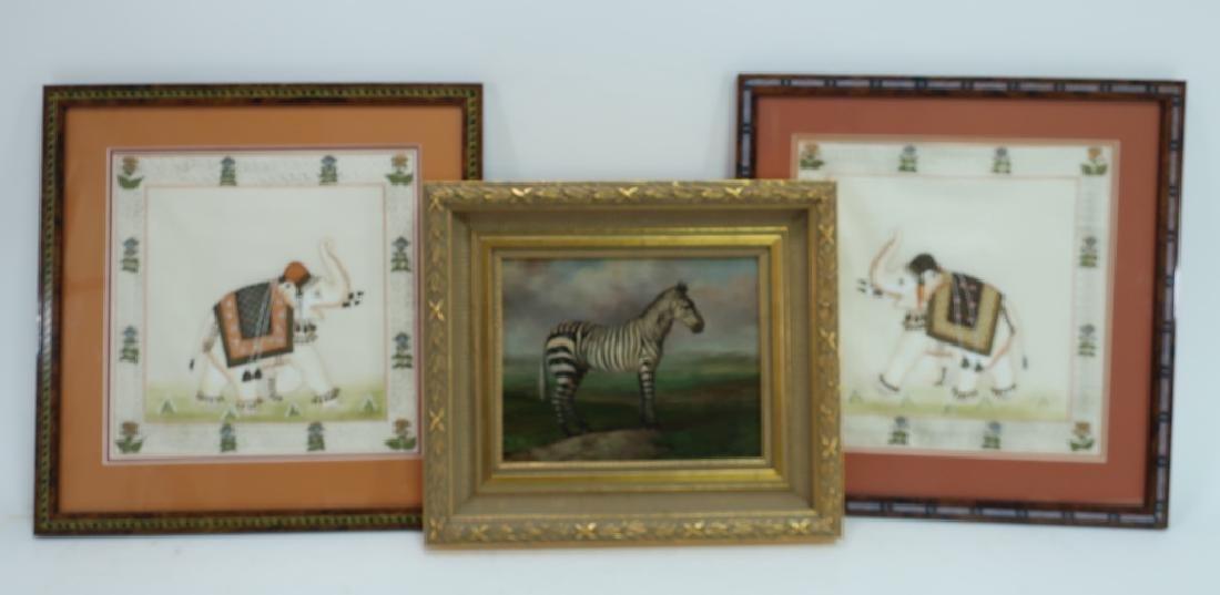 Pr. of Elephant Paintings on Silk w/Zebra giclee - 2