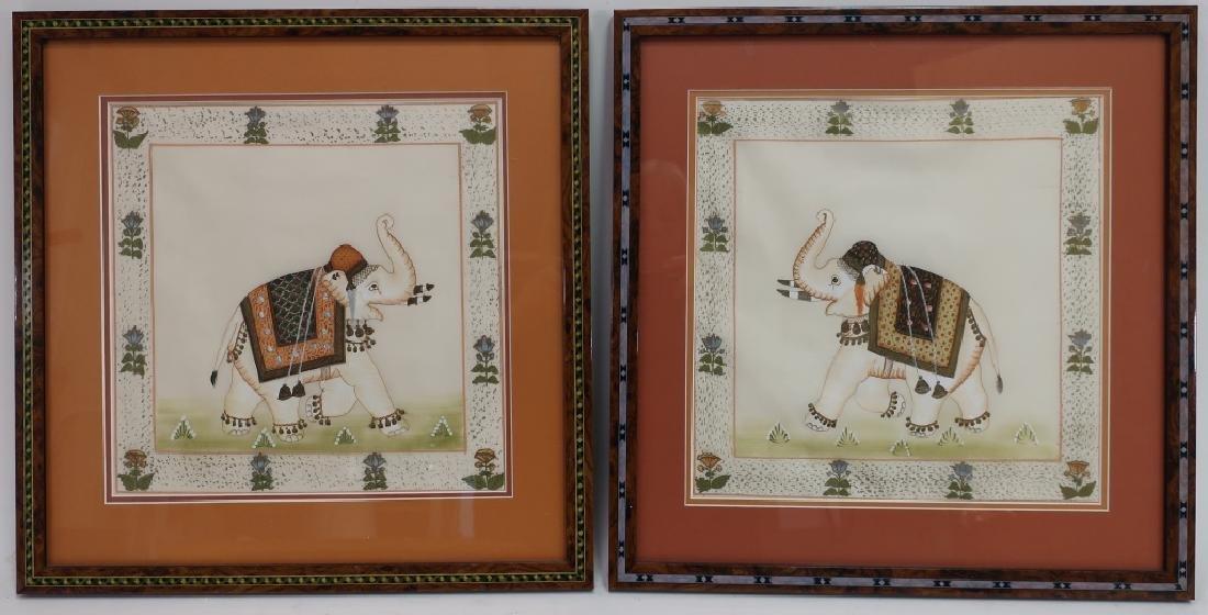 Pr. of Elephant Paintings on Silk w/Zebra giclee - 3