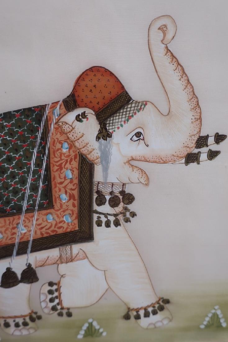 Pr. of Elephant Paintings on Silk w/Zebra giclee - 4