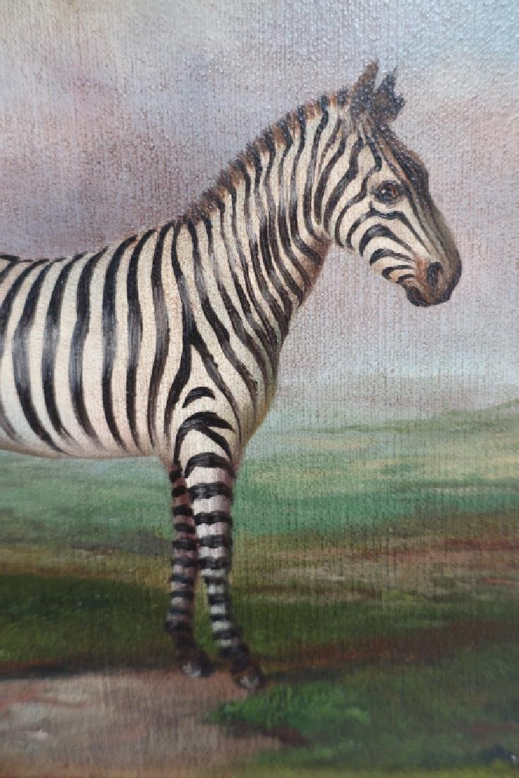 Pr. of Elephant Paintings on Silk w/Zebra giclee - 5