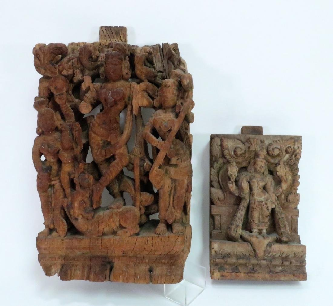 2 Indian Carvings Depicting Temple Dancers