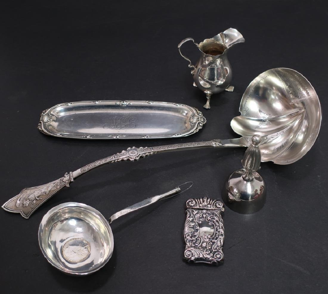 Lot of 6 Sterling Silver Items: Ladle Tray Pitcher